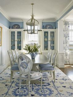 if you like shabby: Shabby & Charme could always continue paint color on wall to inside of glass cabinets!