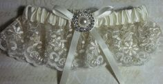 Garter  Ivory lace and pearls seed beading satin by kathyjohnson3, $18.00