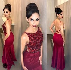 Prom Dress with beading ,open back prom dress Custom Bridesmaid Dresses Open Back Prom Dresses, Elegant Prom Dresses, Red Wedding Dresses, Grad Dresses, Mermaid Prom Dresses, Sexy Dresses, Cute Dresses, Evening Dresses, Formal Dresses