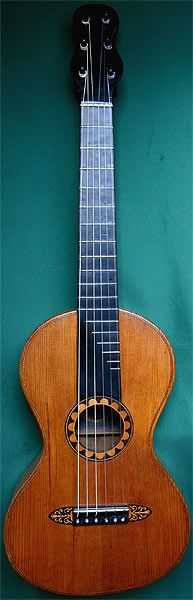 Early Musical Instruments, antique Romantic Guitar by Baum 1845