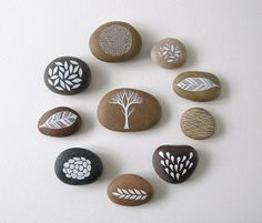 very nature oriented painted pebbles