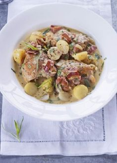 Low FODMAP Recipe and Gluten Free Recipe - Chicken, bacon & potato stew  http://www.ibs-health.com/low_fodmap_chicken_bacon_potato_stew.html
