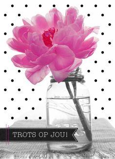 Echte kaarten maken & versturen - succes goed gedaan kaart - roze bloem trots op jou