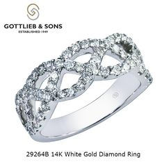This stunning diamond ring is perfect for any occasion.  This 14K White Gold Diamond ring features beautifully braided prong set round diamonds. Visit your local #GottliebandSons retailer and ask for style number 29264B. http://www.gottlieb-sons.com/product/detail/29264B