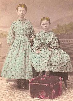 Civil War Era CDV Hand Colorized Two Young Girls Pennsylvania | eBay