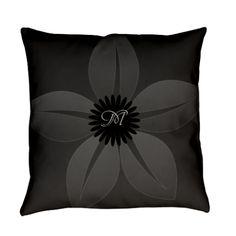 Black Gray Vintage Style Flower Everyday Pillow, editable monogram.