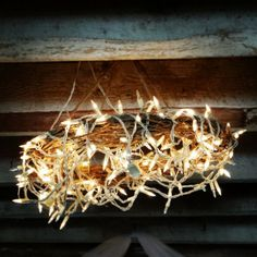 Like this idea for the porch ~ {Straw wreaths with mini lights in the barn for the ~ from Design The Life You Want To Live by Lynne Knowlton Outdoor Party Lighting, Cool Lighting, Wedding Rustic, Boho Wedding, Country Hoedown Party, Treehouse Wedding, Straw Wreath, Wedding Stuff, Wedding Ideas