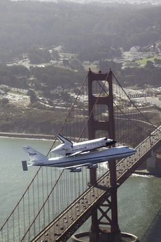 Endeavour Over The Golden Gate Bridge by NASA HQ PHOTO
