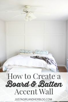 This board and batten accent wall is easy to do, and it made SUCH a big impact on their space! Must try! | Just a Girl and Her Blog