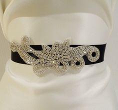 Bridal Rhinestone Sash, MARIABELLA, Bridal Belt, Rhinestone Sash, Bridal Sash, Black Sash. $45.00, via Etsy.