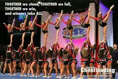 This is SUCH a cute quote! Maybe for the Kennywood t-shirts next season.or team motto/saying.MEGAN this is for you Cheerleading Cheers, Cheerleading Quotes, Cheer Coaches, Cheer Stunts, Cheer Dance, Cheer Mom, Softball Chants, Competitive Cheerleading, Cheer Tips