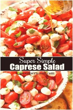 #Caprese #salad #simple #garden Garden fresh tomatoes and herbs tossed with mozzarella along with basil in a two ingredient dressing of olive oil and balsamic vinegar might just be the most simple most delicious salad everbrp classfirstletterHelloWelcome to our pageScroll down for new balsamic effective TopicpIf you dont like everything that ingredient is part of the icon we offer that when you read that icon exactly the features you are looking for you can see In the image Garden fresh… Ensalada Caprese, Caprese Salat, Aubergine Mozzarella, Tomato Basil Salad, Tomato Basil Mozzarella, Tomato Mozzarella Basil Salad, Cherry Tomato Salad, Fruit Salad, Healthy Recipes