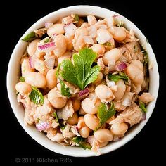 "White bean tuna salad. Look, this is simple, cheap, easy - ""canned supper"" in a nutshell."