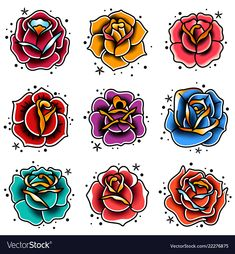 old school tattoo roses set - Buy this stock vector and explore similar vectors at Adobe Stoc. - old school tattoo roses set – Buy this stock vector and explore similar vectors at Adobe Stock # - Traditional Tattoo Flowers, Traditional Tattoo Old School, Traditional Tattoo Flash, Traditional Roses, American Traditional Rose, Traditional Tattoo Drawings, Rosa Old School, Old School Rose, Rose Vine Tattoos