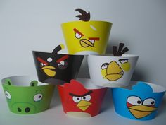 Angry birds cupcake wrappers liners party decorations supplies set of 12 by PrissyParty on Etsy https://www.etsy.com/listing/187089188/angry-birds-cupcake-wrappers-liners