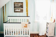 Ruby's Mint Nursery with Geometric Patterns and Woodland Details - On to Baby