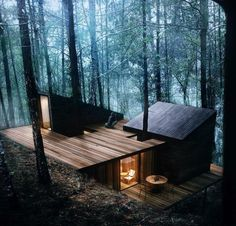 Modern forest hideaway. Imagine a beautiful blanket of snow around this cabin.