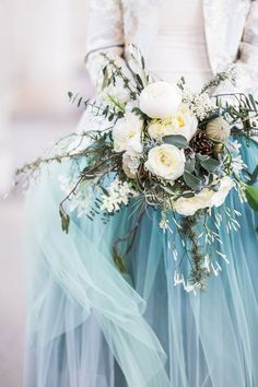 Gorgeous bouquet and blue tulle skirt