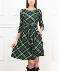 Take a look at the Teal Plaid Three-Quarter Sleeve Dress on #zulily today!