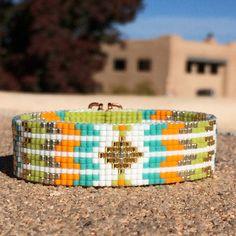 Los Lunas Bead Loom Cuff Bracelet Native American Inspired Beaded Jewelry Boho Tribal Beadweaving Southwestern Black Copper