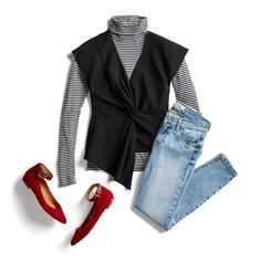 Winter to Spring Transition This is not my normal style but something about this outfit is very appealing to me. Stitch Fix Blog, Stitch Fit, Stitch Fix Stylist, Stitch Fix Outfits, Striped Turtleneck, Punk, Winter Wardrobe, Work Wardrobe, Style Me