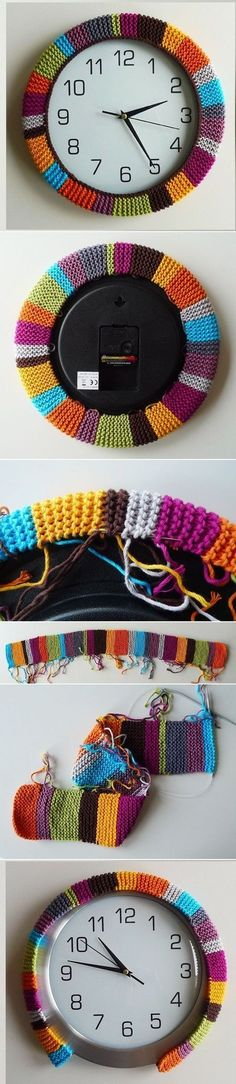 Love this colorful knitted wall clock. Great hygge home decor diy craft idea for knitters.
