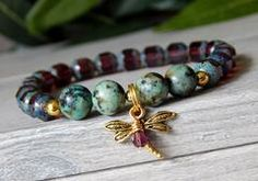 Purple Bracelet with Dragonfly Charm and African Turquoise