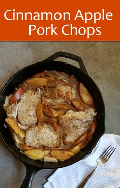 Cinnamon Apple Pork Chops, a sweet and savory skillet meal. Perfect dinner recipe to warm the home for fall weather. The sauce flavor is amazing!