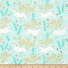 Michael Miller Sarah Jane Magic Metallic Unicorn Forest Aqua from @fabricdotcom  Designed by Sarah Jane for Michael Miller Fabrics, this whimsical collection features unicorns frolicking and is perfect for quilting, home decor accents and apparel. Colors include aqua, white, coral, grey and brown with gold metallic accents.