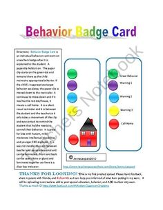Behavior Badge Card from Autism Classroom Creations on TeachersNotebook.com (1 page)  - Behavior Badge Card:  Self Assessment Tool and visual support for classroom and community behavior for students with Autism and any intellectual disability. by constance