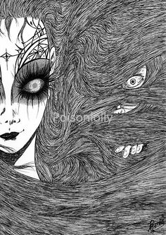 Caught by Poisonlolly. Dark art illustration created with pen on paper. © Poisonlolly