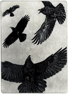 THE DANCE  Raven crow bird Series   5 x 7 inches by larryvienneau, $35.00