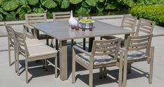 2 dining tables with umbrellas See fabric samples  (4 chairs each table)