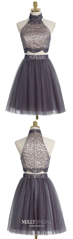 Two Piece Homecoming Dresses Grey, Short Prom Dresses Modest, Elegant Sweet Sixteen Dresses A-line, High Neck Cocktail Party Dresses Tulle Vintage Homecoming Dresses, Two Piece Homecoming Dress, Homecoming Dresses Long, Graduation Dresses, Short Prom, Pageant Dresses, Evening Dresses, Formal Prom, Formal Dresses For Teens