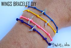 WINGS BRACELET DIY | MY WHITE IDEA DIY     | In Spanish, but with English translation underneath