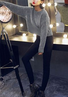 Get wrapped up this fall in this grey classic knit pullover sweater. It's designed with a stretchable fit, a crew neckline and ribbed knitting. | Lookbook Store