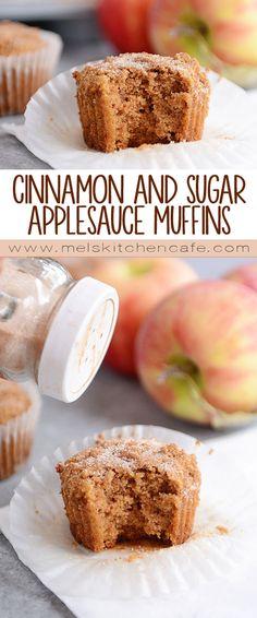 Cinnamon & Sugar Dusted Whole Grain Applesauce Muffins