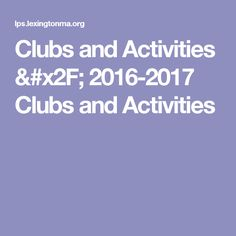 Clubs and Activities / 2016-2017 Clubs and Activities