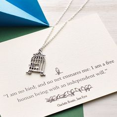 Jane Eyre Birdcage Necklace by Literary Emporium, the perfect gift for Explore more unique gifts in our curated marketplace. All Gifts, Gifts For Her, Best Gifts, Book Lovers Gifts, Gift For Lover, Jane Eyre Quotes, Gifts For Bookworms, Postcard Printing, Stocking Fillers