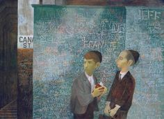 Bernard Perlin: Orthodox Boys 1948. Another new name. I love the way that the heavily scored and graffitied wall -- a wall of texts -- echoes the Jewish boys' own reverence for the text they are sharing... Oh -- Perlin was American, born into a family of Jewish-Russian emigres; he died aged 95 on the 14th January 2014.