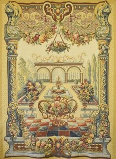 B789 - Huge Vintage French Point De Loiselles Tapestry, Le Jardin De Bagatelle, 235 x 180 cm