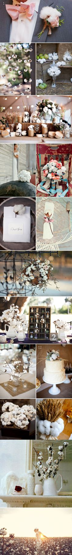 I've never really thought about using cotton in a wedding, but it seems really charming.