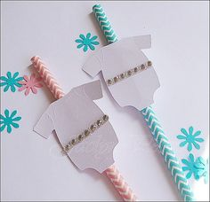 $12.00 Set Of 12 #BabyShowerStraws, Pink Or Aqua, #Rhinestone Onesies, Gender Reveal Party, Decorations - Select Your Color Or Mix And Match