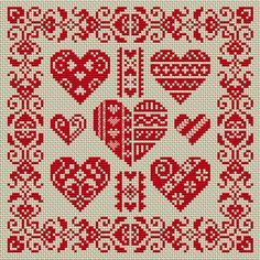 Red monochrome: decorated hearts and a decorative border. Many free cross-stitch patterns