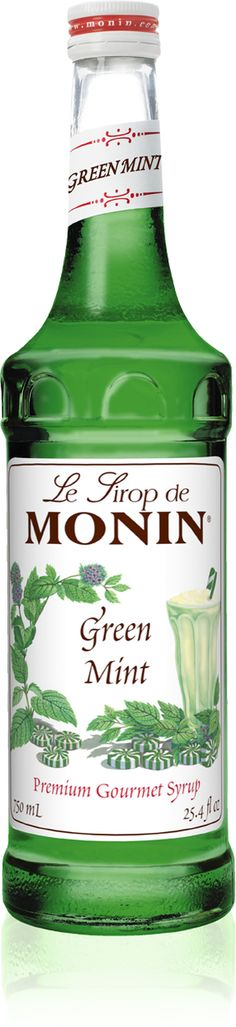 Monin Classic Flavored Syrups - 750 ml. Glass Bottle: Mint, Green - SeriousSips.com Monin Syrup, Specialty Coffee Drinks, Cocktail Desserts, Granny Smith, New Flavour, Pistachio, Glass Bottles, Caramel, Beverages