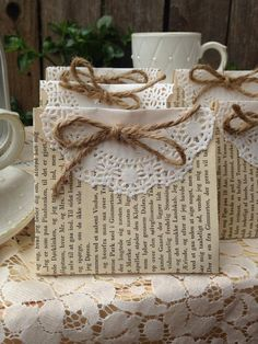 Excited to share this item from my shop: 25 vintage book page favors Old Book Crafts, Book Page Crafts, Diy And Crafts, Paper Crafts, Geek Crafts, Diy Paper, Paper Doilies, Book Pages, Resin Crafts
