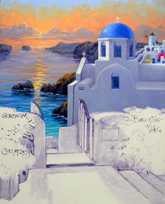 Greece Drawing, Greece Painting, Simple Acrylic Paintings, Cool Paintings, Santorini, Island Pictures, Greek Art, Gouache Painting, Watercolor Print
