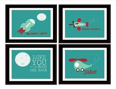 Boys nursery/room FOUR prints Spaceship Plane by TheEducatedOwl, $24.00