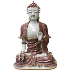 Vintage Chinese Red Glaze Porcelain Sitting Buddha with Lotus Statue ($2,180) ❤ liked on Polyvore featuring home, home decor, models & figurines, vintage home decor, buddha statue, buddha home decor, handmade home decor and lotus flower home decor