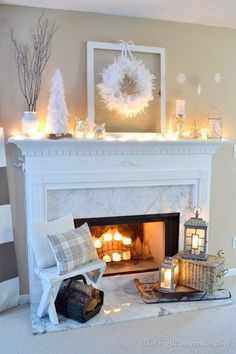 White Winter Mantel Idea to use ~ Vase/ Branches/ Trees/ Frame/ Wreath/ Ornaments/ Candle/ Candlestick/ Stool/ Pillows/ Baskets/ Logs/ Sleigh/ Lanterns Christmas Mantels, Christmas Home, Christmas Decorations, White Christmas, Owl Decorations, Christmas Villages, Victorian Christmas, Fire Place Christmas Decor, Christmas Trees